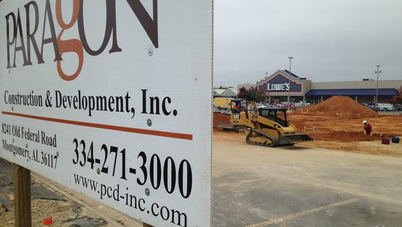 A new retail building is under construction in the