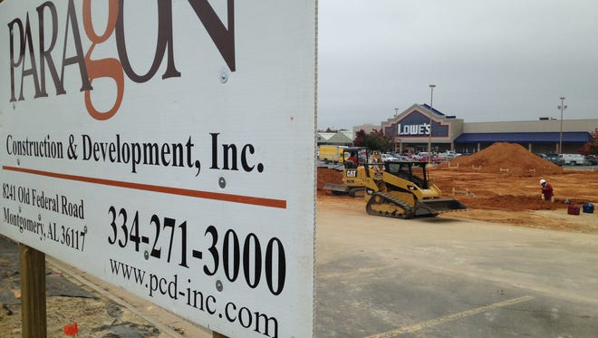 A new retail building is under construction in the Lowe's parking lot on East Boulevard in Montgomery.