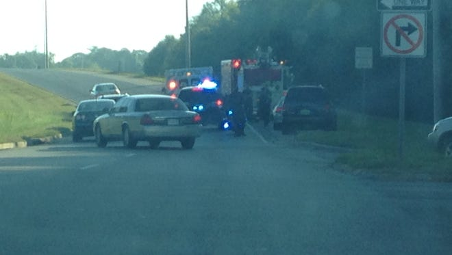 Injuries were reported after two vehicles collided around 8 a.m. on Tuesday.