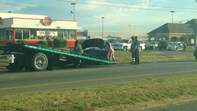Traffic is backed up on Western Blvd. after a single vehicle crash Friday morning.