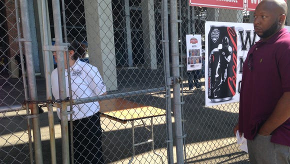 The media gate for the Magic City Classic was padlocked