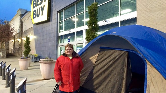Kathy Freyer was the first Black Friday shopper in line outside the Best Buy store on Charlotte Pike in Nashville.