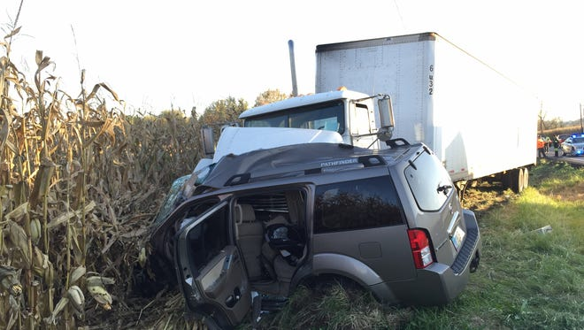 A woman was flown to a Columbus hospital Thursday after a car-versus-SUV crash on Ohio 37.