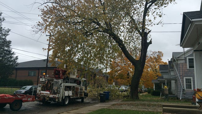 Crews respond to a large downed tree branch near West 10th Avenue and Minnesota Street Tuesday.