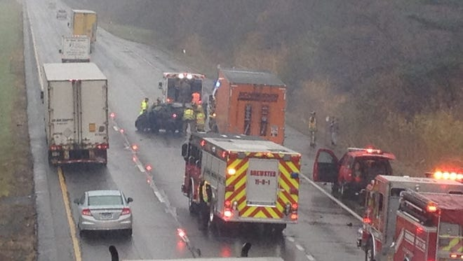 A second crash today on I 84 east, just east of the ramp from I 684 north, involved a tractor trailer and a Smart car.