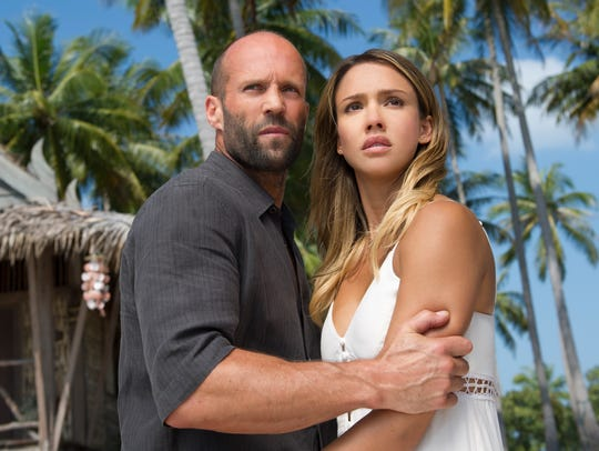 "Jason Statham and Jessica Alba in ""Mechanic: Resurrection."""