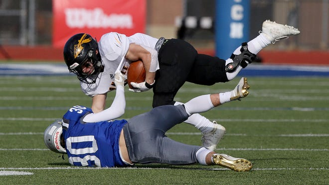 Noah Meyer (14) and Andale have run roughshod over their opponents this season as they look to defend the Class 3A state title they won a year ago against Perry-Lecompton. No. 1 Andale gets its biggest test of the season on Friday against No. 5 Wichita Collegiate.