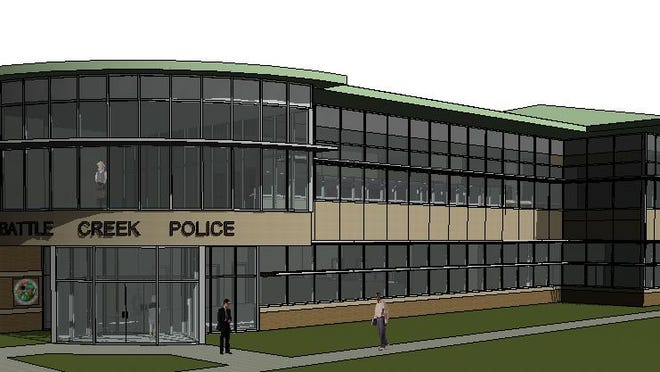 An architect's rendering of the new Battle Creek Police Department headquarters. Officials have added the facility to its wish lists of projects for the 2016-17 fiscal year.
