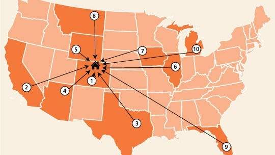 The top 10 states that people move to Larimer County from.