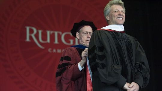 Jon Bon Jovi receives an Honorary Doctor of Letters degree during Rutgers-Camden's Convocation and Graduate Commencement at the Susquehanna Bank Center in Camden on Thursday, May 21, 2015.