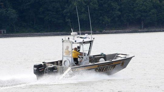 An Ulster County Sheriff's boat leaving the Margaret Lewis Norrie State Park marina in Staatsburg on Saturday. The Ulster County Sheriffs department assisted Dutchess County Sheriffs department in the search of a missing kayaker near Norrie Point.