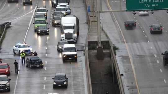 A crash on the ramp from I-71 N to Columbia Parkway/I-471 blocked the right lane of traffic July 14, 2014. AAA offers tips to help drivers stay safe in wet weather.