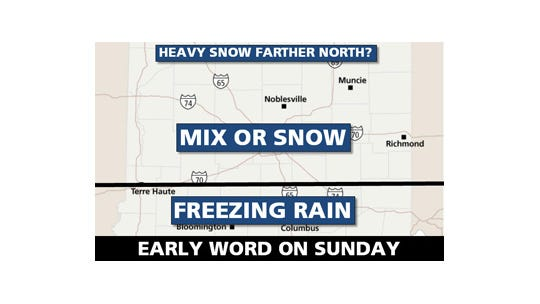 Here is what Central Indiana might see in the way of snow on Sunday, March 2, 2014.