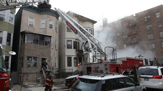 The fire at 56 Groshon Ave. in Yonkers on Jan. 14, 2015