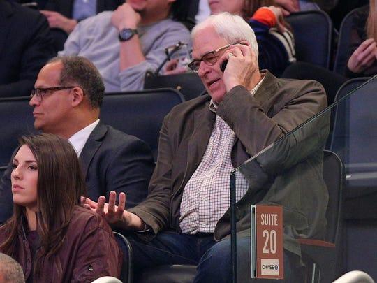 New York Knicks President Phil Jackson talks on his