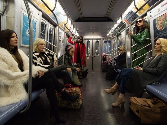 """Sandra Bullock, from left, leads the crew of the heist comedy """"Ocean's 8,"""" which co-stars Cate Blanchett, Rihanna, Mindy Kaling, Awkwafina, Helena Bonham Carter, Anne Hathaway and Sarah Paulson."""