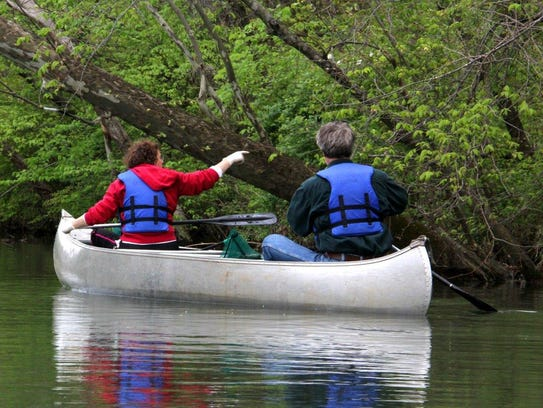 Paddlers help clean Lake Springfield during a previous