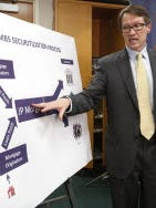 Sacramento U.S. Attorney Benjamin Wagner shows how defective mortgages were bundled into securities as he discussed record $13 billion settlement with JPMorgan Chase on Nov. 19