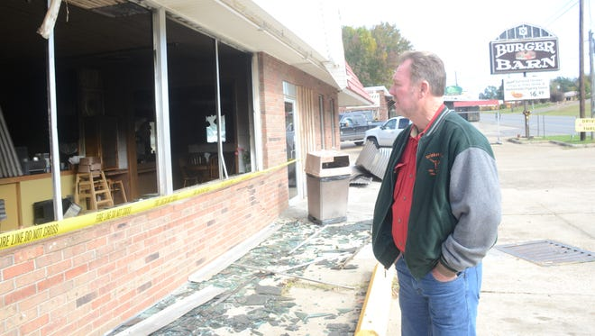 Gerald Mitchell, the owner of the Burger Barn and Brisket House in Jena, was heavily damaged by fire Wednesday night.