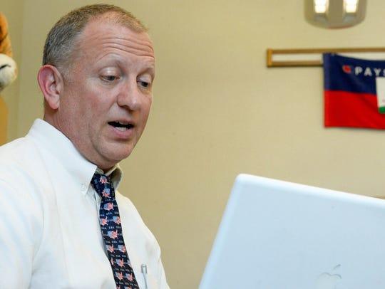 Palmyra Middle School teacher Jeff Remington looks