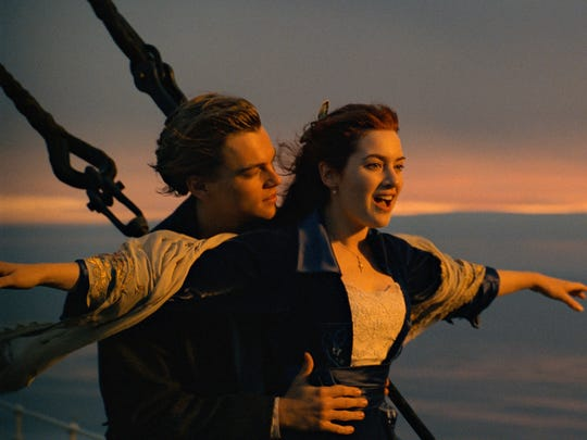 "Leonardo DiCaprio (left) and Kate Winslet are on top of the world (for a little while, anyway) in ""Titanic."""
