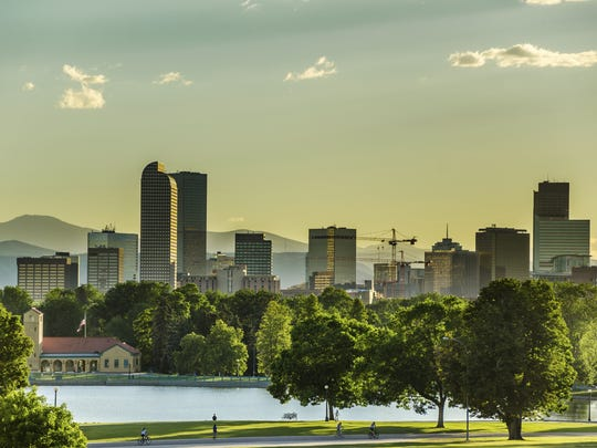 Denver skyline at sunset.