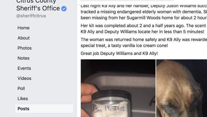 Police found a missing Florida woman with Dementia by using a dog to track her scent which was bottled years ago in a scent preservation kit.