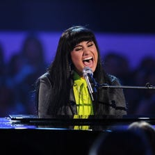 "Jena Irene performing during the ""American Idol"" Season 13 finale at the Nokia Theatre in Los Angeles in May."