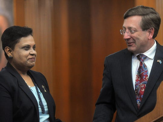 Sioux Falls Mayor Mike Huether introduces Vandhana Baireddy as the city's first Human Rights Community Coordinator during a press conference March 16 at City Hall.