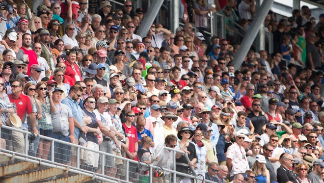 An almost capacity crowd is ready for the Indy 500 race, at Indianapolis Motor Speedway, Sunday, May 28, 2017.