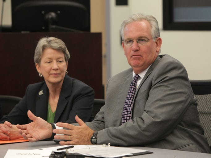 Gov. Jay Nixon speaks at the Greene County Public Safety Center on Monday, August 4, 2014.