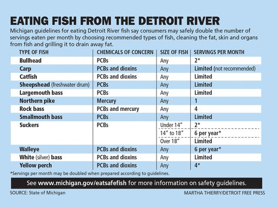 Michigan guidelines for eating Detroit River fish say