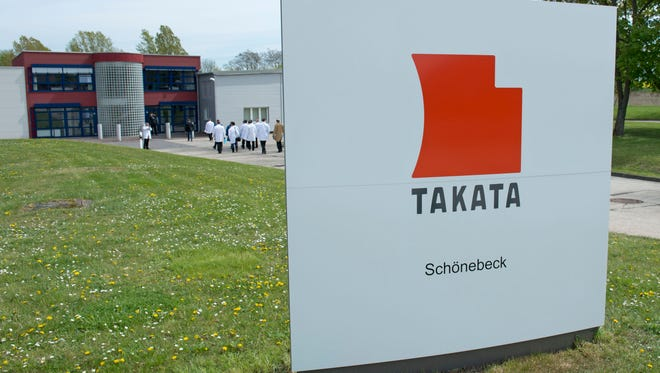 Journalists visit Takata Ignition Systems in Schoenebeck, Germany in April 2014.
