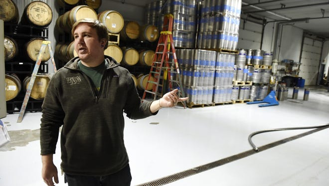 Derek Fernholz, owner and brewer at Fernson Brewing shows off the brewery and space they have available for future capacity at their facility in Sioux Falls, April 12, 2016.