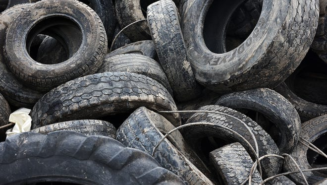 A pile of tires, Friday at the Sioux Falls Sanitary Landfill west of Sioux Falls. The South Dakota Department of Environment and Natural Resources is trying to reduce the chances the mosquito-carried Zika virus shows up here by working with local landfills, including the Sioux Falls Sanitary Landfill, to prevent water from pooling in discarded tires.