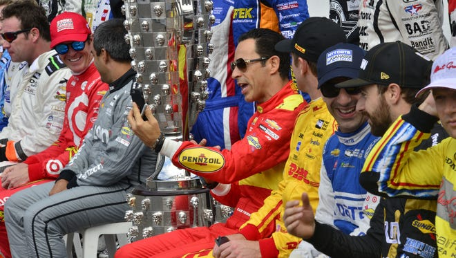 Hello Castroneves films the starting lineup photoshoot on Carb Day, the final practice for the Indianapolis 500 at the Indianapolis Motor Speedway, Friday, May 27th, 2016