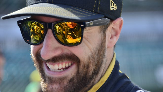 James Hinchcliffe, pictured during  Carb Day on Friday, May 27, 2016, at Indianapolis Motor Speedway. He won the pole this year after nearly dying at the Speedway a year ago. First responders — Hoosier Heroes — saved his life.