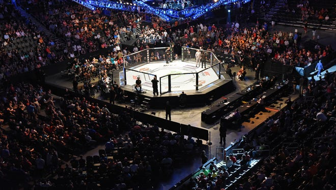 Fans fill the Denny Sanford Premier Center for the UFC Fight Night 91 in Sioux Falls, S.D., Wednesday, July 13, 2016. Smolka wins over Nguyen during the fight.