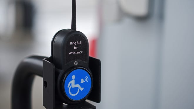 A bell for customers to request assistance at the pump at the Hy-Vee Gas Station on East 10th Street Wednesday, Dec. 21, 2016, in Sioux Falls.