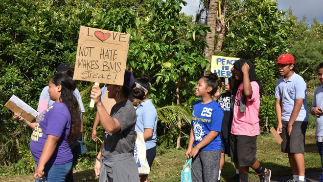 Students from VSA Benavente Middle School march to promote peace on Feb. 10, 2017.