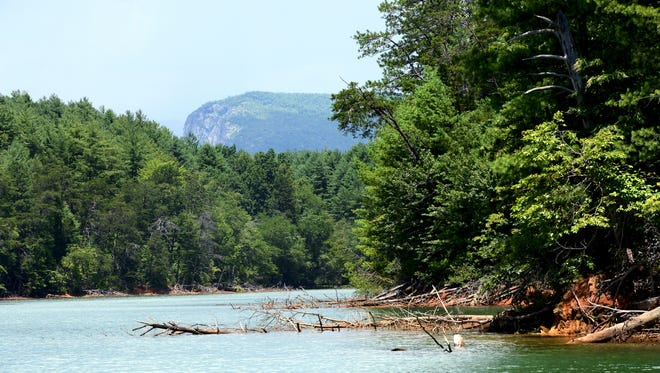 A view of Shortoff Mountain in the Linville Gorge is seen from the water on Lake James between areas of Lake James State Park in 2016. Views of the mountain, Table Rock, Grandfather Mountain and the South Mountains can all be seen from the lake which straddles the borders of McDowell and Burke counties.
