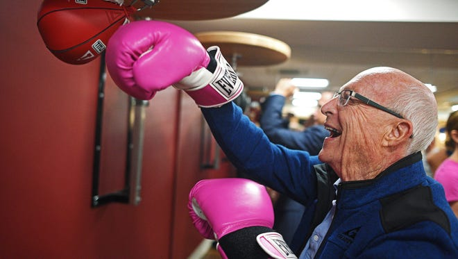 Glenn Brueske, of Sioux Falls, hits a speed bag during a grand opening event for the Rock Steady Boxing studio at The Inn on Westport senior living community Thursday, May 18, 2017, in Sioux Falls. Rock Steady Boxing is a boxing exercise program adapted for people with Parkinson's disease.
