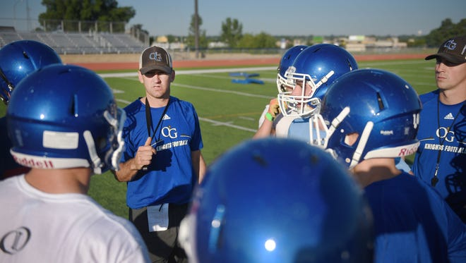 O'Gorman Catholic High School practices Friday, Aug. 11, at the high school football field in Sioux Falls.