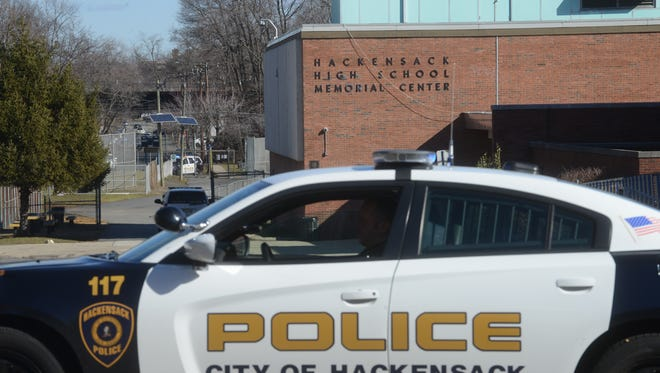 Hackensack police block access to Hackensack High School during a bomb scare in 2016.