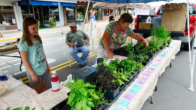 Parm Boyer of Lindsey, right, sells herbs with help from her and granddaughter Tessa Heckman, 9, at the Downtown Fremont Farmers Market on Saturday.