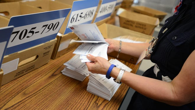 Workers organize ballots by precinct for the primary election at the Marion County Elections Office in South Salem on Tuesday, May 20, 2014.