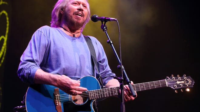 Barry Gibb of The Bee Gees performs solo in concert during his Mythology Tour 2014 at the Wells Fargo Center   in Philadelphia.