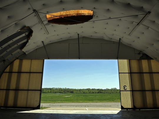 One of the airplane hangars at Cornelia Fort Airpark