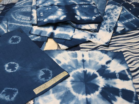 Small swatches of textile art created by Elmer Lucille Allen created using the Shibori method of dying fabric.  Allen was recently awarded the Kentucky Museum of Art and Craft's first Art and Advocacy Award.  She has been a long-time leader in the African-American community and in the arts community. October 8, 2015