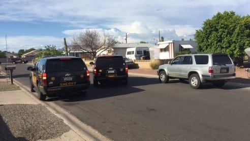 Maricopa County sheriff's officials were working to get an assault suspect to surrender at a home in the 600 block of South 93rd Street in Mesa on July 21, 2016.